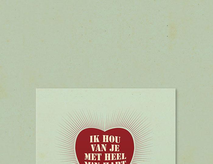 Affiche 'Ik hou van je met heel m'n hart'