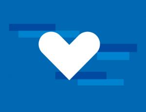blauwe tegel balkjes wit hart